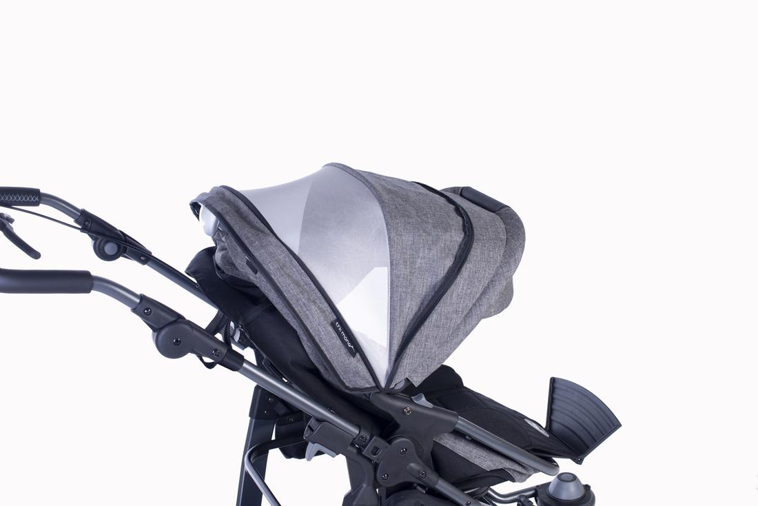 großes Verdeck mit Lüftungsoptionen und UV-Schutz